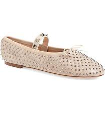 VALENTINO Crystal Rockstud Studded Ballet Ballerina Flat Shoe Leather Nude 38 -8