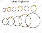 Silver & 18k Gold Plate Round Hoop Sleeper Earrings 8mm-50mm