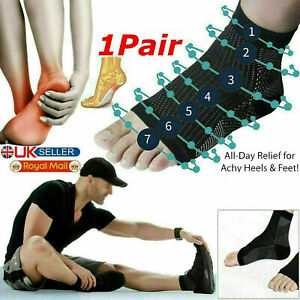 2 x Compression Socks Heel Foot Arch Pain Relief Plantar Fasciitis Support Pair