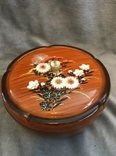 EUC VINTAGE ~ BROWN BOWL w/ LID 3D & HAND PAINTED FL0WERS WESTLAND CO. ~ JAPAN