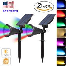 2 Pcs Solar Power Spotlight 7 Colors Changing Wall Light Garden Outdoor 7 LED US
