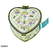 Kelvin Chen Enamel Hand painted Copper Heart Stamp Box Holder Bumble Bee Grape