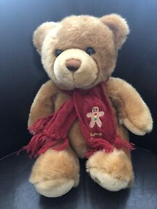 "Harrod's 10"" Christmas Teddy Bear With Gingerbread Man Scarf"