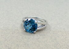 BLUE TOPAZ AND 18K WG RING LONDON BLUE TOPAZ 3.29 CT TOP QUALITY ENGAGEMENT RING