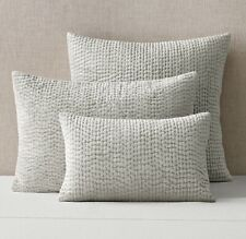 Restoration Hardware Velvet Pick-Stitch Sham,SilverBirch-Standard, Set Of 2