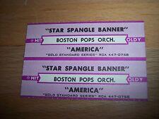 "2 Boston Pops Star Spangle Banner / America Jukebox Title Strips CD 7"" 45RPM"