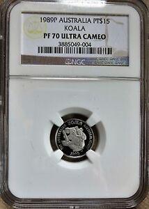 1989 P  Australia 1/10 oz. Platinum $15 Koala NGC PF 70 Ultra Cameo