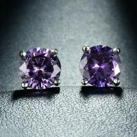 Wedding Purple Color Natural Amethyst Gemstone Silver Woman Stud Hook Earrings