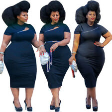 Plus Size Sexy Women Short Sleeve Zipper Solid Color Bodycon Package Hip Dress