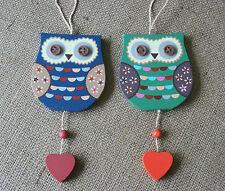 Vintage Retro Painted Hanging Owl Decoration Sign Folk Art Teacher Brownie Gift