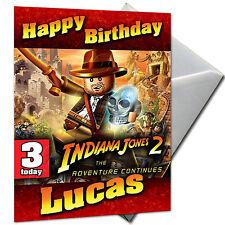 Indiana Jones Lego-Personalizado Cumpleaños Tarjeta de gran formato A5 + Sobres