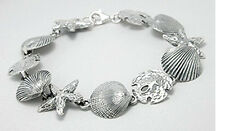 "7.5"" NEW Solid Sterling Silver 15mm Sea Shell Star Sand Dollar Bracelet 20g"