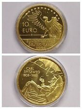"""UNIONE EUROPEA Moneta 10 argento """"200. Compleanno di Carl Spitzweg"""" placcato oro"""