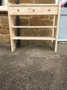H90 W90 D22cm BESPOKE CONSOLE HALL TABLE 3 DRAWER CHUNKY 2 SHELVES UNTREATED