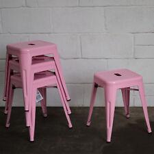 Set of 4 Pink Metal Industrial Bar Stool Breakfast Kitchen Bistro Cafe Vintage
