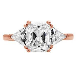 3.1ct 3Stone Emereld Trillion Anniversary Engagement Bridal Ring 14k Rose Gold