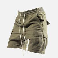 Men's Retro Trend Loose Overalls Shorts Outdoor Pocket Sports Casual Cargo Pants