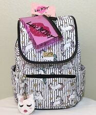 NWT Betsey Johnson Backpack Black White Quilted Unicorn Travel School Book Bag