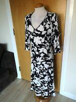 Ladies Dress Size 14 LONG Tall PER UNA Black White Stretch Smart Casual Day