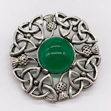 VINTAGE CELTIC SCOTTISH IONA STYLE GREEN AGATE SILVER METAL LADIES PIN BROOCH