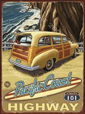 Pacific Coast Hwy Metal Sign, Vintage Woody Car, Surf, California, Ocean View