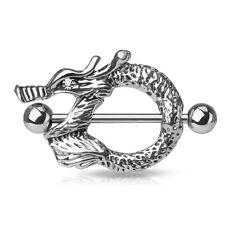 "Pair 14g 1"" (25 mm) CZ Dragon Eyes Surgical Steel Barbells Nipple Rings Shield"