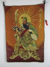 Gewobener Thangka GUAN GONG, chinois dieu des richesses Bouddha Image 88 cm