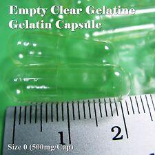 Empty Capsule CLEAR , Size no 0 , (500 mg) 1,000 EMPTY gel GELATIN CAPSULES