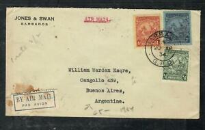BARBADOS COVER (P1304B) 1934 SEA HORSE 2/-+4D+1/2D A/M COVER TO ARGENTINA NO B/S