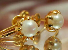 Genuine Pearl Screw Back Earrings 550J6 Pretty Vintage 60's Ac Gold Filled