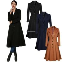 Womens Long Trench Coat Ladies Fashion Parka Jacket Warm Winter Outwear Overcoat