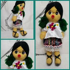 Vintage Mexican Doll with Braids Handmade from Mexico 9""