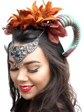Psytrance Fairy Queen Rams Horn Headband Crown with Autumnal Leaves