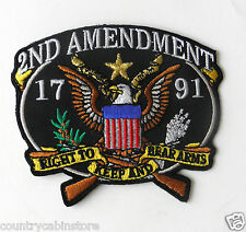 2nd Amendment 1791 Right to Keep and Bear Arms Embroidered Patch 3.25 inches