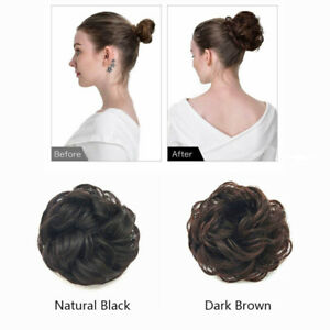 Fashion Ladies Hairpiece Bun Hair Wrap Curly Wavy Messy Updo Hair Extension Knot