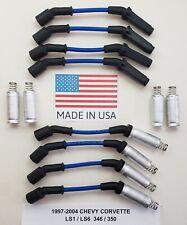 97-04 CHEVY CORVETTE LS1/ LS6 5.7L 346/350 BLUE Spark Plug Wires + HEAT SHIELDS