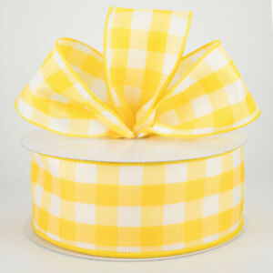 Ribbon for Wreaths Easter Ribbon Wired Ribbon 10 yards Yellow Watercolor Dots Linen Edge Wired Ribbon