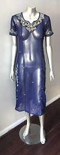 Oriental Tunic Vintage Layering Sheer Embellished BLue festive Dress Sz M