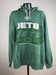 Men's Majestic New York Jets Green Seam Pass Sweatshirt Hoodie NWT Large