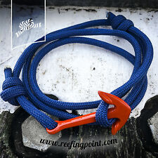 Nautical Rope bracelet - - Red Anchor :: Navy Blue Cord :: Gifts for sailors