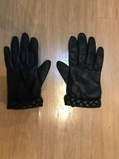 H&M 100% Leather Black Gloves Size L