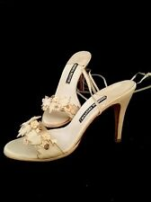 ANDREA PFISTER Vintage Size 9 Leather Floral.Sandals w Ankle Straps Beige Peach