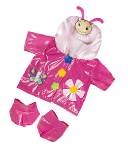 """Pink Butterfly Raincoat & Boots Teddy Bear clothes outfit to fit 8"""" - 10"""""""