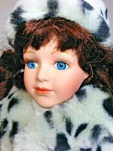 "Bisque Porcelain Girl Doll Faux Mink Coat HandBag Dan Dee Soft Expressions 17"""