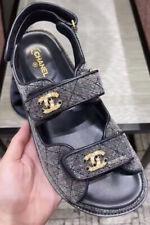 Chanel Velvet Denim Cc Logo Mule Slide Strap Flat Teva Dad Sandal 38