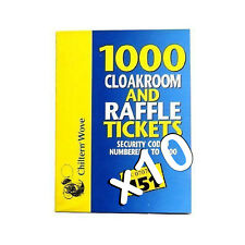 10 books of cloakroom raffle tombola draw tickets numbered 1 1000 new