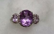 Sparkling 3.5 ctw natural amethyst 3 stone ring size 6