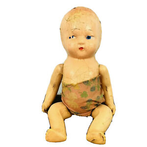 Vintage Creepy Doll Composition Cloth Baby Boy Possibly Haunted Halloween 10¨