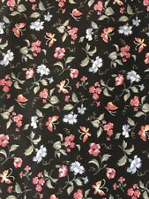 """Springs Industries Floral Butterfly Fabric Black Pink Blue 44""""W x 102""""L (2.8 yd)"""