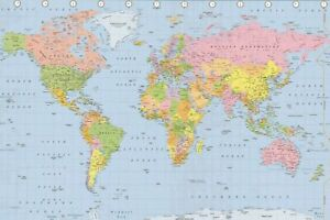 A1 Laminated Large WORLD MAP Atlas Political poster Wall Chart